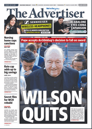 Front page of the Adelaide Advertiser