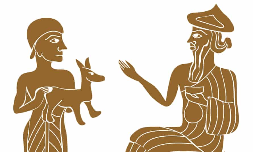 The Sumerian god Enlil receiving an animal gift.
