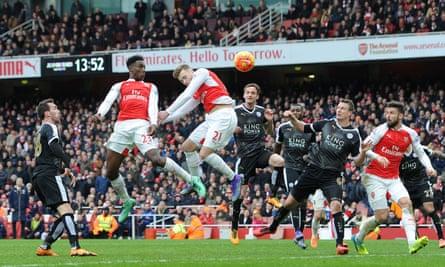 Photograph of Danny Welbeck heading Arsenal's winner