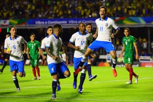 Paolo Philippe Coutinho celebrates scoring from the penalty spot to score Brazil's second goal.