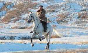 Kim Jong-un gets up some speed on Mount Paektu.