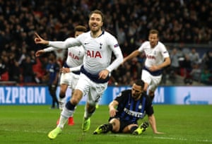 Christian Eriksen scores for Tottenham against Inter at Wembley.