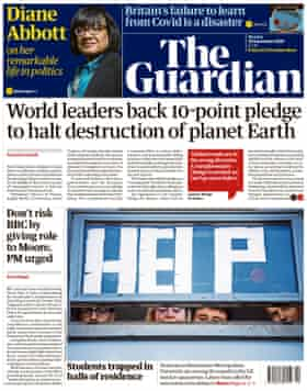 Guardian front page, Monday 28 September 2020