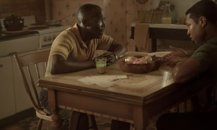 Montrose (Michael K Williams, left) isn't coping well with the death of his brother George.