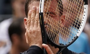 Grigor Dimitrov reacts with relief after overcoming Janko Tipsarevic in five sets.
