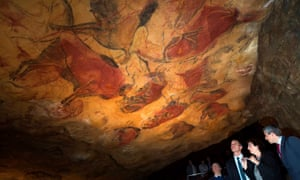 Spanish Prime Minister Pedro Sanchez visits the Cave of Altamira./