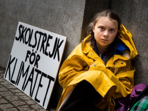 Greta Thunberg leads a school strike outside the Swedish parliament, in an effort to force politicians to act on climate change.