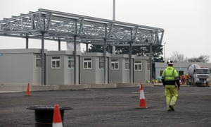 Check booths for trucks under construction at Dublin port