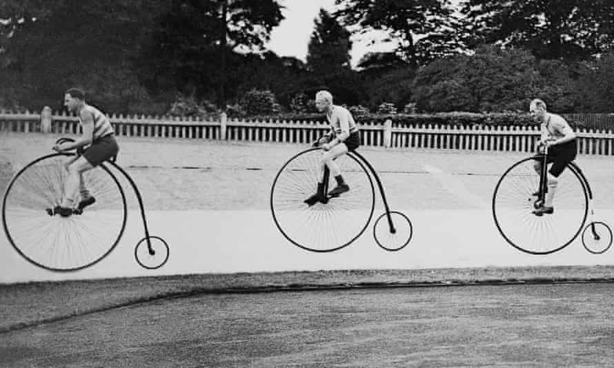 Old timers: penny farthing racers at Herne Hill, London, August 1937.