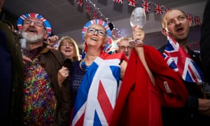 Celebrations at the Big Brexit Bash at Morley rugby club in West Yorkshire