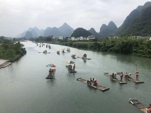 Bamboo rafting along the Yulong River in Yangshuo, China