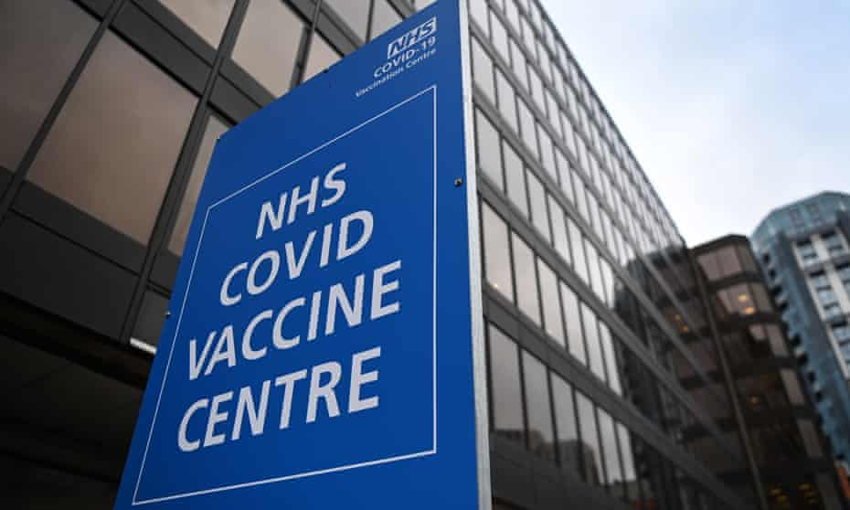 A Covid-19 vaccination centre in north-west London.
