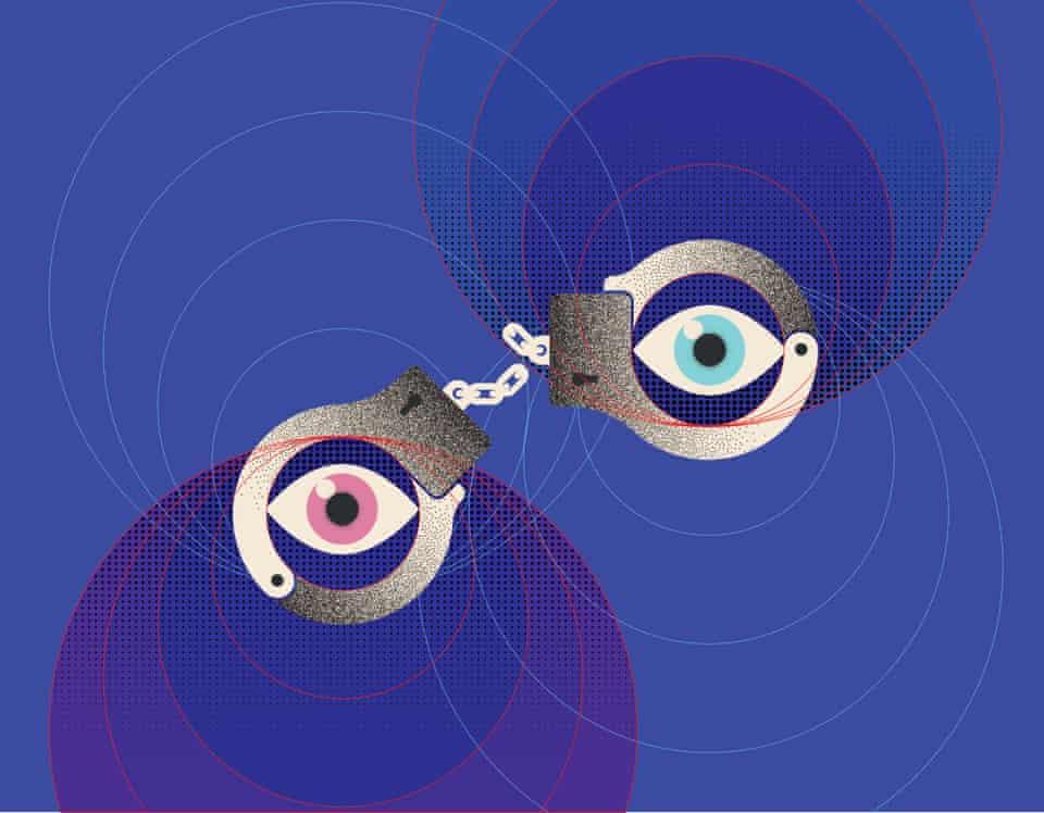illustration: swirling eyes inside handcuffs