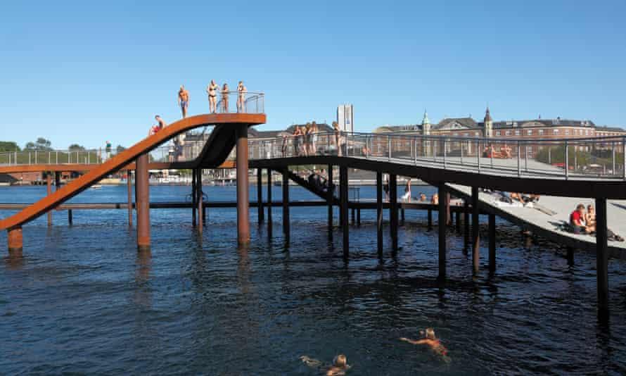Swimming facilities at Copenhagen's Fisketorvet harbour.