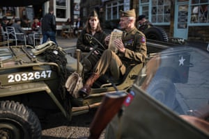 Second world war re-enactors playing US forces in Pickering.
