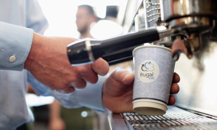 Frugalpac cup being used at cafe expresso machine