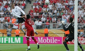 Peter Crouch makes use of Brent Sancho's hair to head England into the lead against Trinidad and Tobago at the 2006 World Cup.