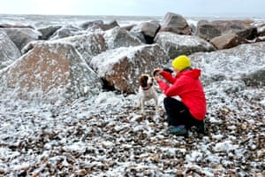 Dorset: Visitors experienced unusual conditions on Dorset's Jurassic coast in May as exceptionally high winds combined with a high tide to produce spume, which blew across the holiday resort of West Bay.