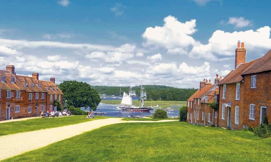 Buckler's Hard in Hampshire, with its former worker's cottage leading to the water's edge.