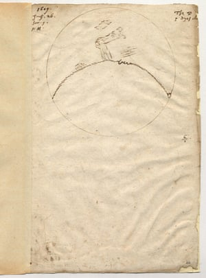 Thomas Harriot's first drawing of the moon seen through a six-powered telescope, 26 July 1609.