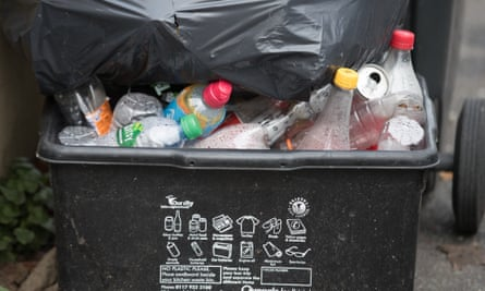 Plastic recycling waiting to be collected in a bin
