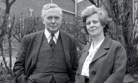 Former British prime minister Harold Wilson with his wife, Mary