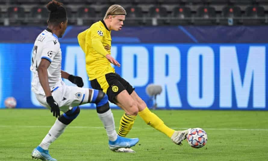 Haaland scores for Dortmund against Brugge last month.