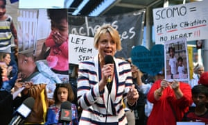 ALP Senator Kristina Keneally address a rally support of a Tamil asylum seeker family