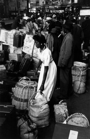 West Indian immigrants arriving at Victoria Station, London. Original Publication: Picture Post - 8405 Thirty Thousand Colour Problems - published 1956.