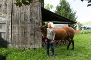 Author Tama Janowitz photographed on Newell Farm in Ithaca, New York