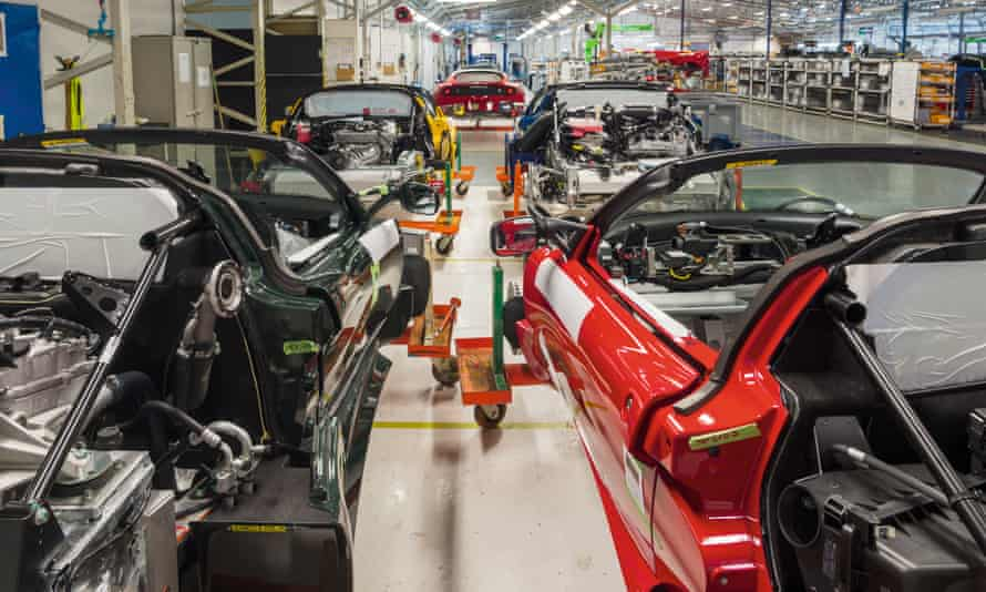 Lotus cars assembly line at the Hethel plant near Norwich.