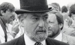 Harry Hyams at the Derby in 1985. He would usually go to extraordinary lengths to avoid being photographed.