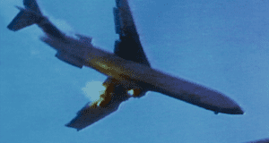 Graphic footage … the plane crash in the 1978 film.
