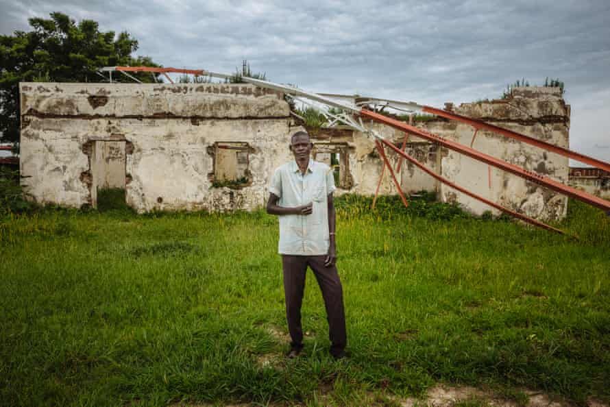 Peter Lall lives in a destroyed building in Abyei, a contested territory between Sudan and South Sudan.
