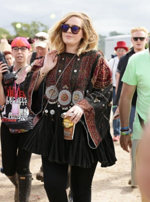 <strong>Cider</strong> This is Adele's first sighting since 2008, or something like that, so she wisely chose to blend in by resurrecting her boho wardrobe from the same year and drinking cider. A vodka tonic? At Glastonbury? A red rag to the paps.