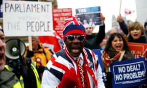 Pro-Brexit demonstrators protest outside the Houses of Parliament
