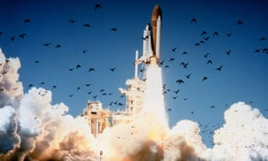 The space shuttle Challenger lifts off at Kennedy Space Center, Florida