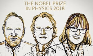 Arthur Ashkin, Gérard Mourou and Donna Strickland, 2018's Nobel laureates in physics.