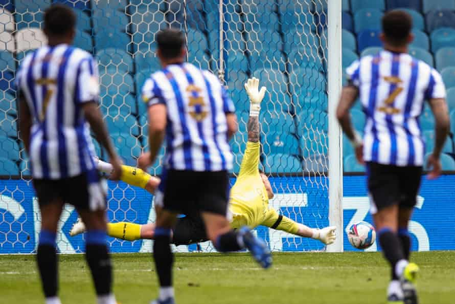 Sheffield Wednesday's Keiren Westwood dives to save the penalty