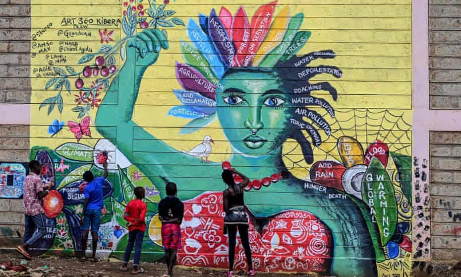 A mural about awareness of mental health and climate issues in Nairobi's Kibera slum.