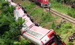 Carriages of the derailed train.