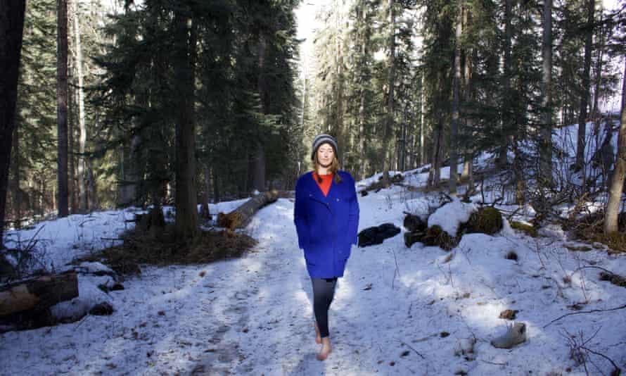 Ailsa Ross walking in a snowy forest