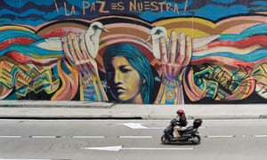 """A mural that reads """"Peace is ours"""" in Bogotá"""
