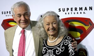 Jack Larson and Noel Neill, who played Jimmy Olsen and Lois Lane respectively in the 1952 Superman television series, pose for photographs in 2006.