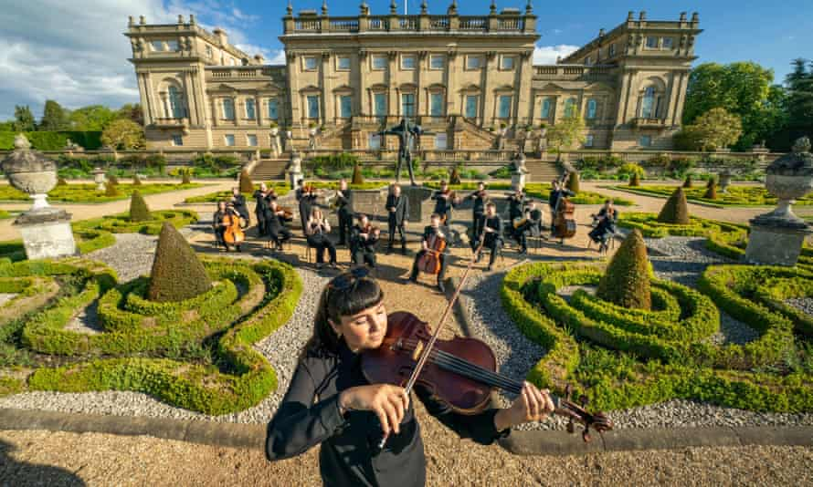 Viola player Sophia Dignam and other members of the Yorkshire Symphony Orchestra at Harewood House.