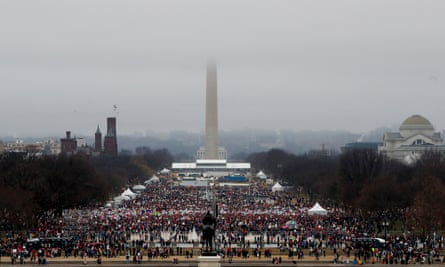 Protesters assemble on the National Mall in the US capital during the Women's March on Washington.