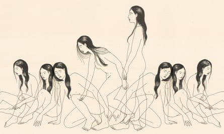 drawing of several women sitting together