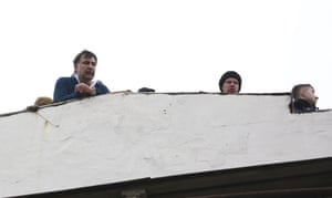 Mikheil Saakashvili appears on a rooftop