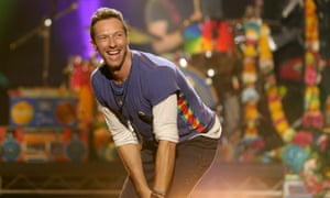 Coldplay … Chris Martin demonstrates how to use the Glastonbury toilets.