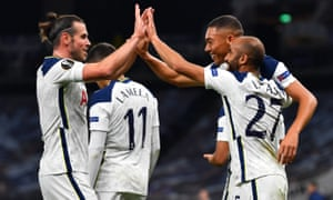 Tottenham Hotspur's Lucas Moura celebrates scoring their first goal with Carlos Vinicius and Gareth Bale.